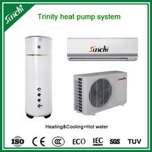 CE,CB,TUV,EN14511 domestic home using 220V 3kw,5kw,7kw,9kw R410A outlet 60deg.C DHW, COP4.28 split inverter heat pump tankless