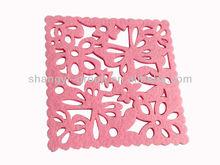 (TA-02)2014 Square Pink Laser Cut Felt Coaster