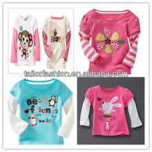 Flores macaco padrão crianças t-shirt camisa da criança do bebê da menina t-shirt de algodão longo mock 2 fer t à venda