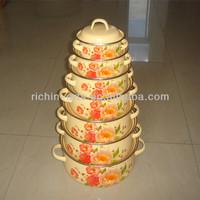 6pcs decal yellow bottom enamel cookware/enamel casserole/enamel pot
