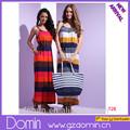 Moda tasarım bayan elbise şerit maksi elbise/uzun maksi elbise kadın