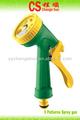 Agua pistola de pulverización cs-1003 5 función de agua de spray con gatillo de la pistola