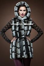 rex14043 2014 fashion chinchilla rabbit fur vest with hood