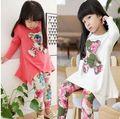 Wholesale new 2015 orso ragazze manica lunga t- shirt + legging fiore di abbigliamento bambini abiti floreali set