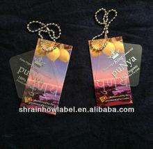 fashionable paper/PVC plastic vintage hangtag with metal ball chain