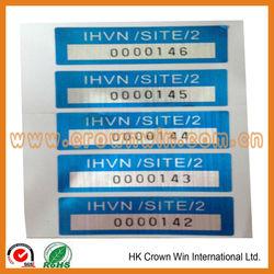 serial number sticker labels barcode label aluminum sticker label