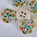 4 furo personalizada gravada borboleta impressa de madeira natural decorativa camisa de botões de casca de coco de artesanato