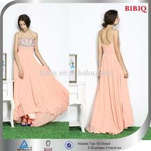 2015 New Trendy Women's Strap Hard Beaded Pleated Peplum Flowy Chiffon Long Evening Dresses