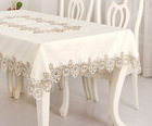 Embroidered flowers and cutwork border tablecloth