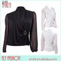 Dt105 # v- cuello de manga larga de gasa blusa lehenga diseños de color sólido sexy modelos blusas de gasa venta al por mayor