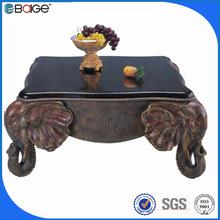 C-3350 luxury wood carved elephant square animal coffee table