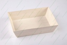 Square Disposable Wood Food Container, food carrier