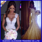 Ali-025 Unique Custom Made Sexy Mermaid / Trumpet Long Train Lace Deep V Backless Wedding Dress 2014