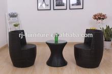 Vase shape flat wicker garden chair/sofa/Waterproof cushion/Side tea table/tempered glass