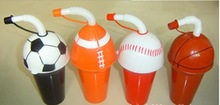 promotional popular plastic straw cup with ball shape lid for kids