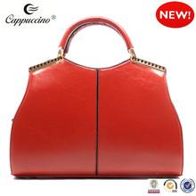 hot sale designed red fashion pu leather handbag for women lady hand bag