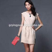 Factory price elegant office dresses casual short sleeves office dresses