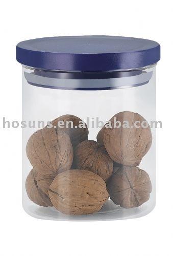Selado frasco de vidro com tampa de plástico ( 600 ml ) ( qualidade superior )