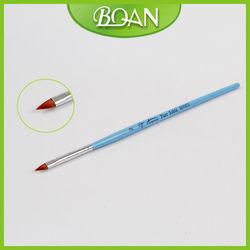 BQAN Blue Slim Wooden Handle Cat Tongue Hair 3D Acryl Nail Brush
