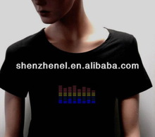 EL flash lighting sound activate t-shirts