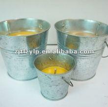 citronella oil metal Bucket outdoor candle