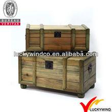 S/2 FSC handmade slat antique storage natural wood trunk