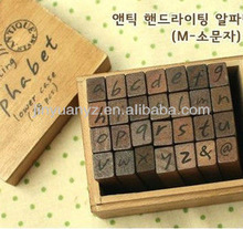 The hot selling alphabet wooden rubber stamp
