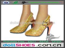 Fashion golden shiny PU BJD high heel sandal doll shoes toy shoes