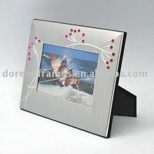 Mate de plata de aluminio marco de fotos con diamantes de imitación de la decoración