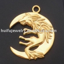 Stainless Steel Chinese jewellery Gold plated Wolf animal pendants
