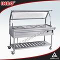 Elettrico 4 pan buffet bagnomaria trolley con piano in vetro( cibo caldo)