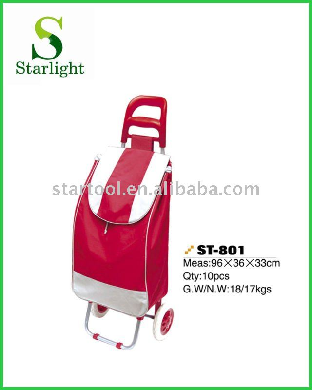 Red folding shopping trolley bag