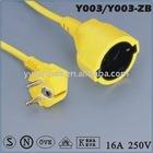 Europe standard vde schuko power extension cord (VDE/ROHS certifications)