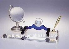 nice office supply laser aluminum crystal pen holder set