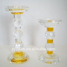 elegant yellow and white big classic crystal candlestick candleholder