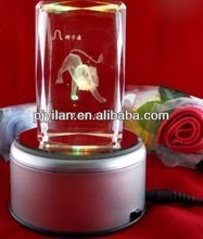 beauty antique glass animal figurine 3d laser engraving zoo animal figurines 3d crystal figurines