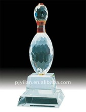 beautiful crystal bowling decoration sport crystal sport trophy crystal bowling trophy for decoration