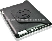 3 in 1 set leather case with car holder & windscreen holder for ipad 2 & the new ipad. cover case for ipads