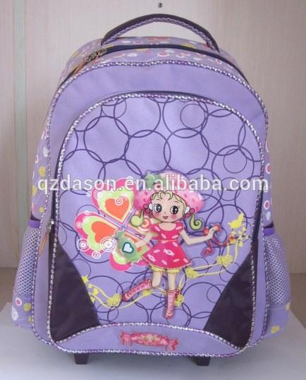 crianças mochila escolar do trole para meninas