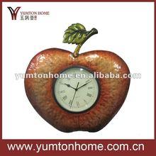 Metal apple shape wall clock