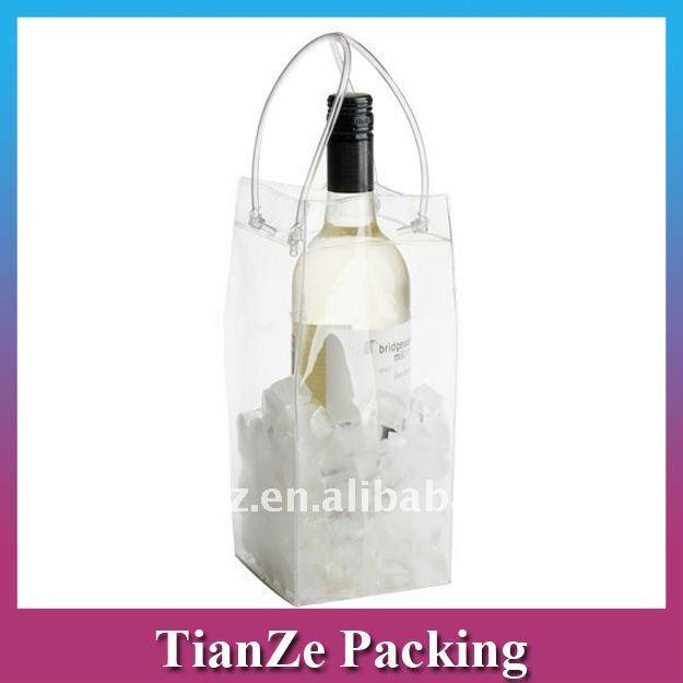 wholesale promotional PVC wine bag, high quality PVC ice bag, customized PVC bottle bags