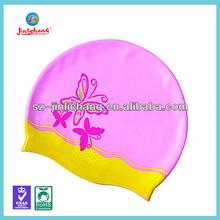 Colorful silicone swim cap, funny swimming cap