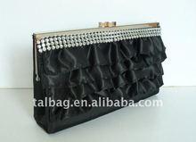 fashion black satin lady wallet