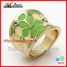 R5376 cheap costume green leaf CZ diamond diva jewelry alloy ring