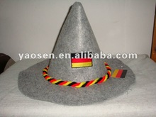 Grey Oktoberfest Hillbilly hat with Germany flag twisted ropes