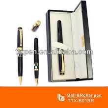 TTX-B01BR Naturl shell ball & roller pen set