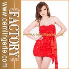Elegante rojo apagado- hombro damas al por mayor porlamañanavestido