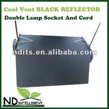Black Aluminium Reflector Lamp Shade with double lamp socket & cord