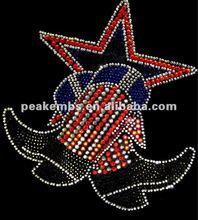 Stars with Cowboys shoes Iron on rhinestone transfer motif design
