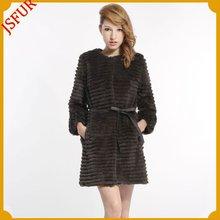 Fashion women's luxurious korean style sheared rabbit fur coat